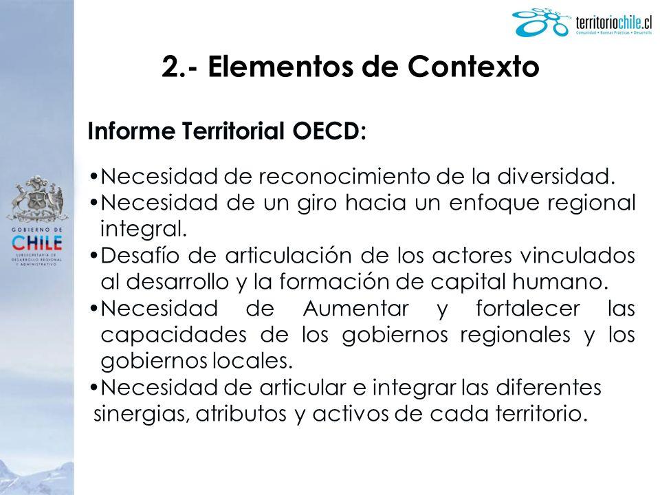 2.- Elementos de Contexto Informe Territorial OECD: Necesidad de reconocimiento de la diversidad. Necesidad de un giro hacia un enfoque regional integ