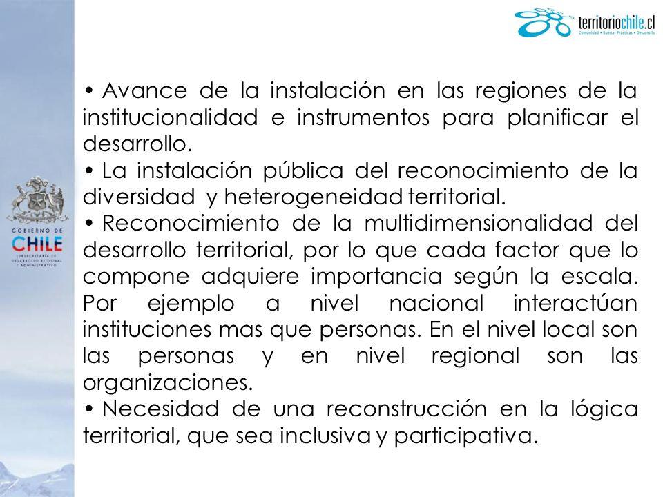 Avance de la instalación en las regiones de la institucionalidad e instrumentos para planificar el desarrollo. La instalación pública del reconocimien