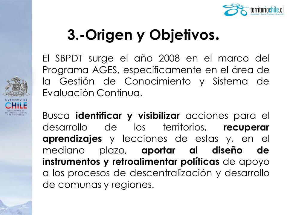 3.-Origen y Objetivos. El SBPDT surge el año 2008 en el marco del Programa AGES, específicamente en el área de la Gestión de Conocimiento y Sistema de