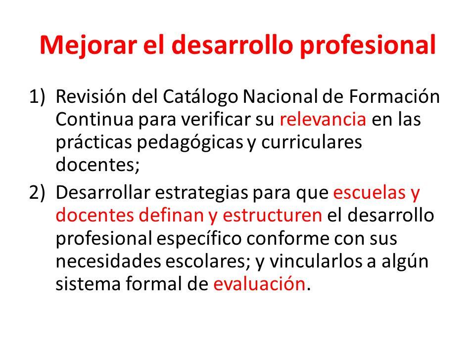 Mejorar el desarrollo profesional 1)Revisión del Catálogo Nacional de Formación Continua para verificar su relevancia en las prácticas pedagógicas y c