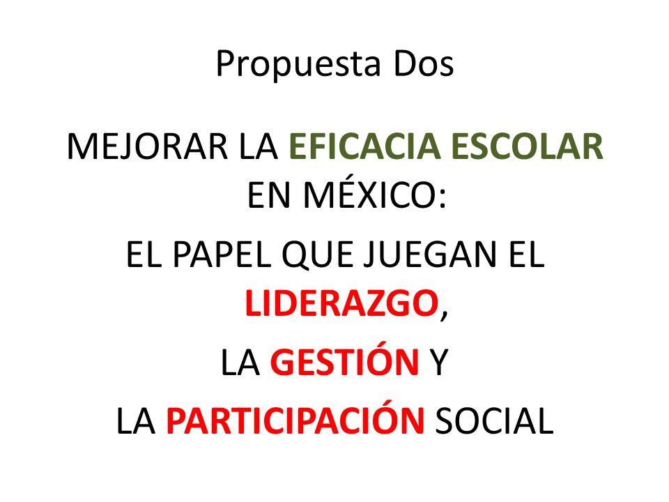 Propuesta Dos MEJORAR LA EFICACIA ESCOLAR EN MÉXICO: EL PAPEL QUE JUEGAN EL LIDERAZGO, LA GESTIÓN Y LA PARTICIPACIÓN SOCIAL
