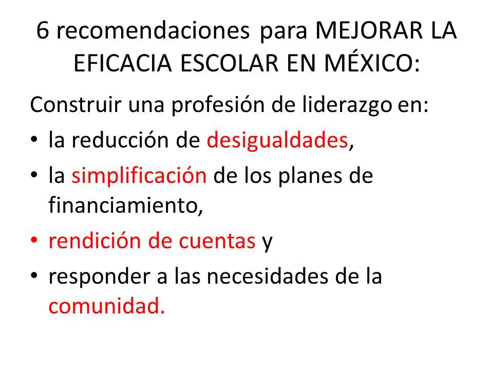 6 recomendaciones para MEJORAR LA EFICACIA ESCOLAR EN MÉXICO: Construir una profesión de liderazgo en: la reducción de desigualdades, la simplificación de los planes de financiamiento, rendición de cuentas y responder a las necesidades de la comunidad.