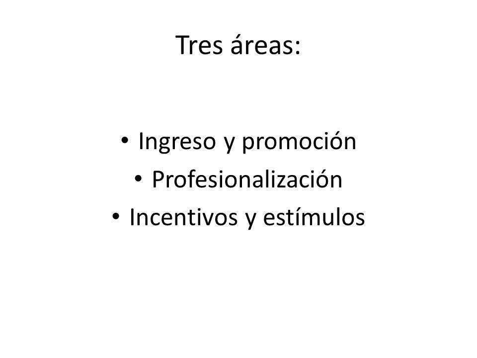 Tres áreas: Ingreso y promoción Profesionalización Incentivos y estímulos
