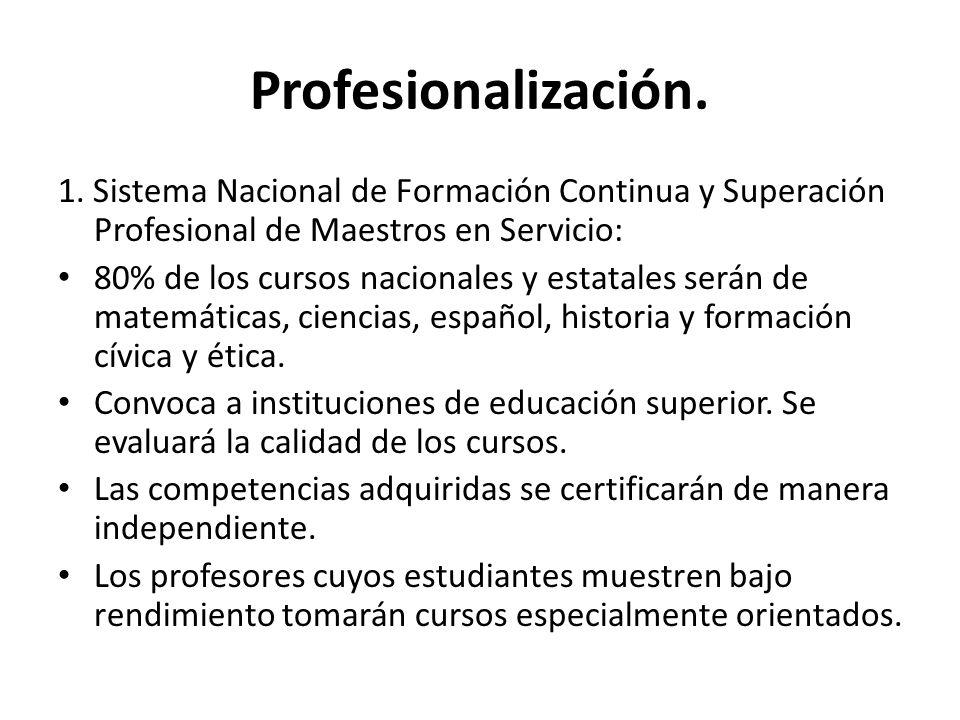 Profesionalización. 1. Sistema Nacional de Formación Continua y Superación Profesional de Maestros en Servicio: 80% de los cursos nacionales y estatal