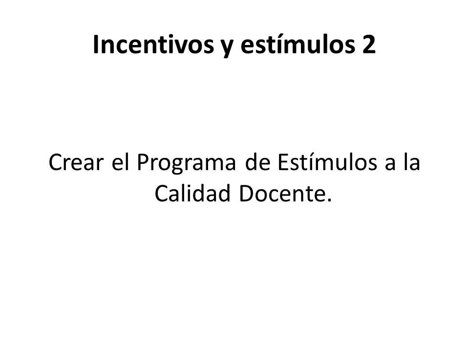 Incentivos y estímulos 2 Crear el Programa de Estímulos a la Calidad Docente.