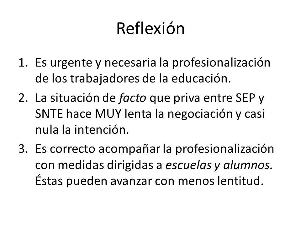 Reflexión 1.Es urgente y necesaria la profesionalización de los trabajadores de la educación. 2.La situación de facto que priva entre SEP y SNTE hace