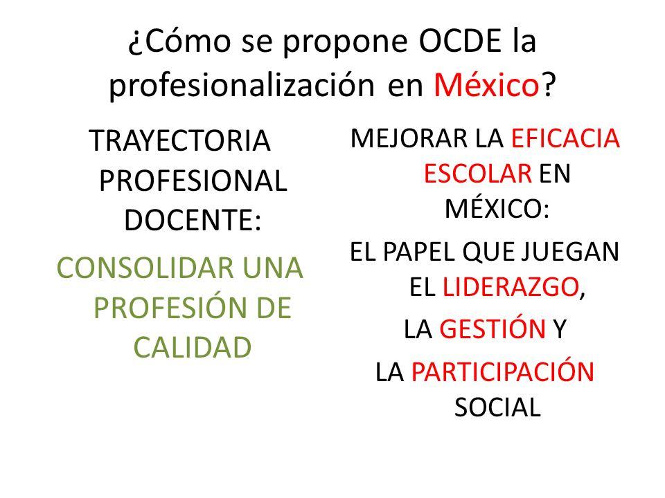 ¿Cómo se propone OCDE la profesionalización en México? TRAYECTORIA PROFESIONAL DOCENTE: CONSOLIDAR UNA PROFESIÓN DE CALIDAD MEJORAR LA EFICACIA ESCOLA