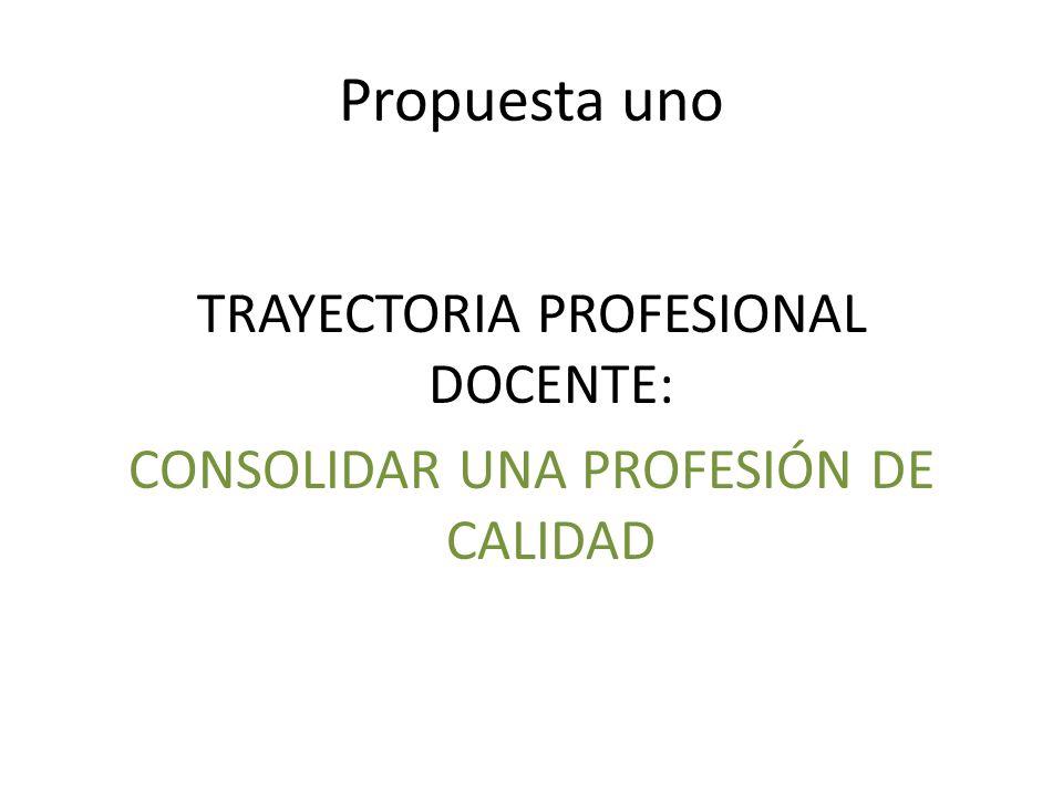 Propuesta uno TRAYECTORIA PROFESIONAL DOCENTE: CONSOLIDAR UNA PROFESIÓN DE CALIDAD