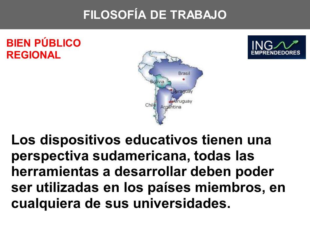 FILOSOFÍA DE TRABAJO BIEN PÚBLICO REGIONAL Los dispositivos educativos tienen una perspectiva sudamericana, todas las herramientas a desarrollar deben