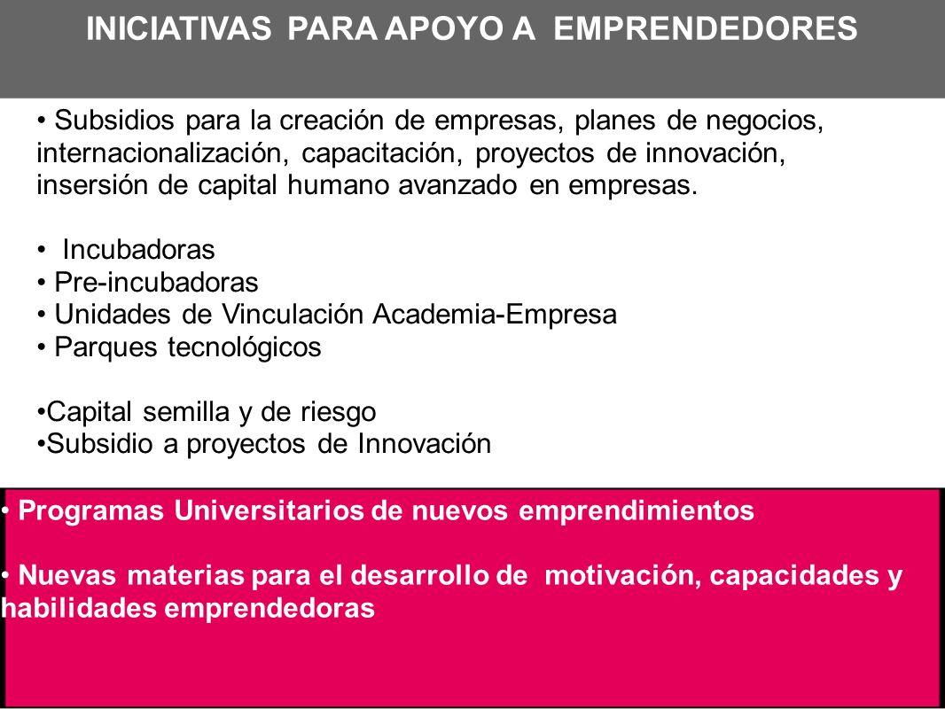 INICIATIVAS PARA APOYO A EMPRENDEDORES Subsidios para la creación de empresas, planes de negocios, internacionalización, capacitación, proyectos de in
