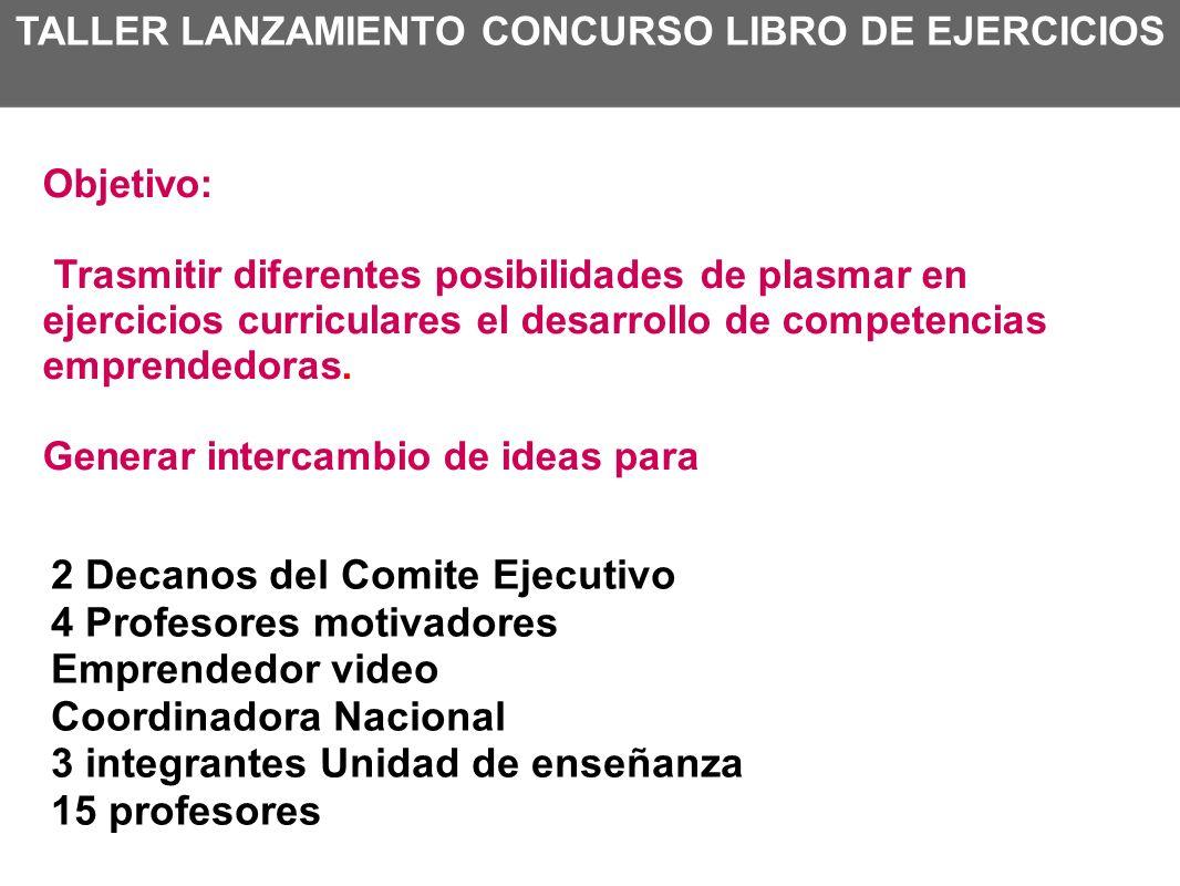 TALLER LANZAMIENTO CONCURSO LIBRO DE EJERCICIOS 2 Decanos del Comite Ejecutivo 4 Profesores motivadores Emprendedor video Coordinadora Nacional 3 inte