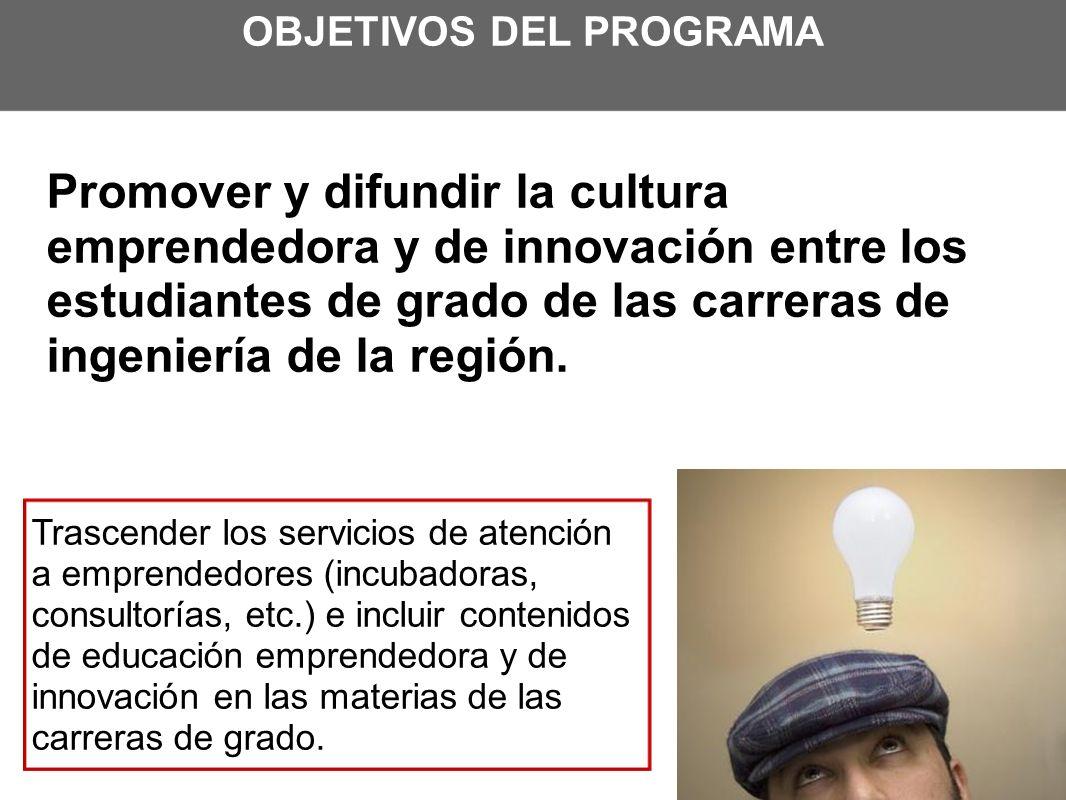 OBJETIVOS DEL PROGRAMA Promover y difundir la cultura emprendedora y de innovación entre los estudiantes de grado de las carreras de ingeniería de la