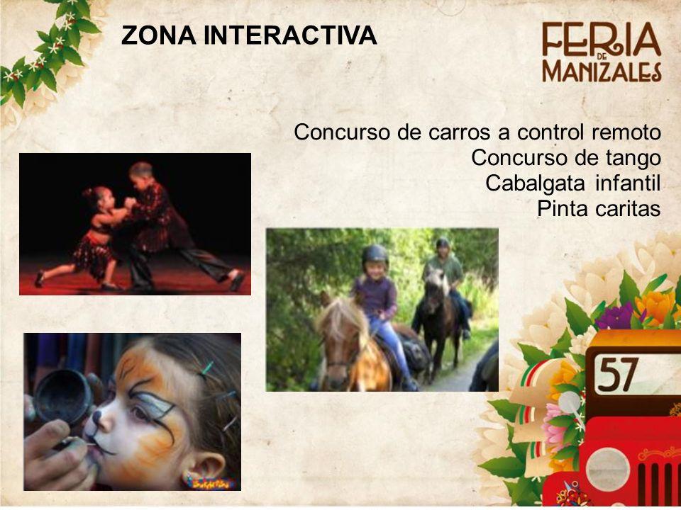 Concurso de carros a control remoto Concurso de tango Cabalgata infantil Pinta caritas ZONA INTERACTIVA
