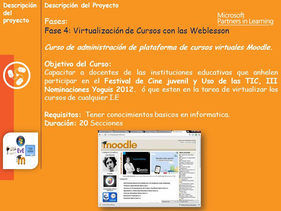 Descripción del proyecto Descripción del Proyecto Fases: Fase 4: Virtualización de Cursos con las Weblesson Curso de administración de plataforma de cursos virtuales Moodle.