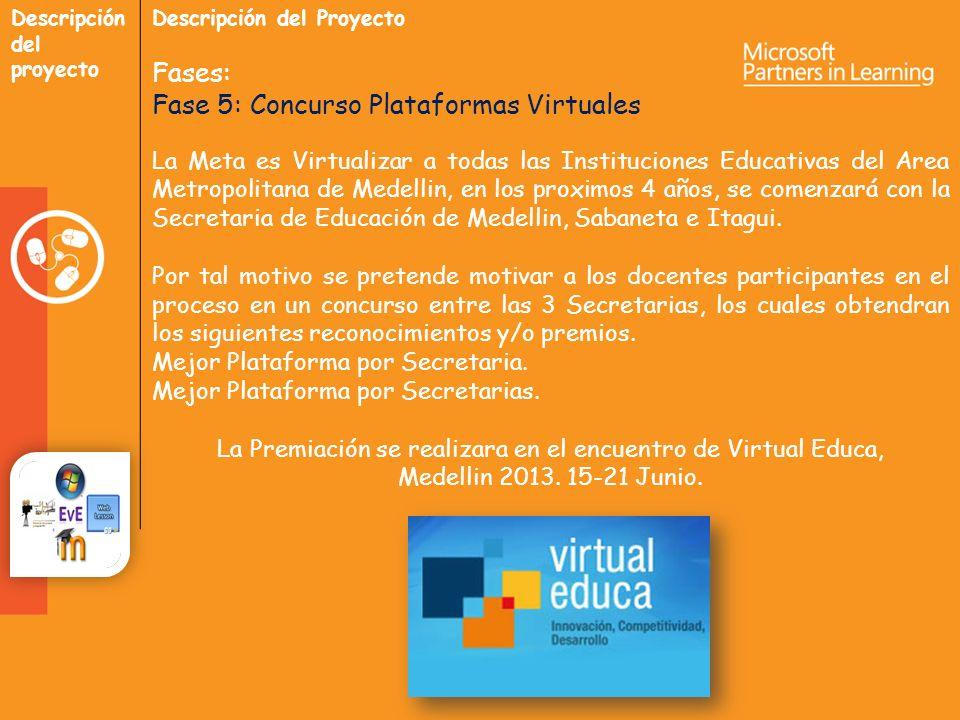 Descripción del proyecto Descripción del Proyecto Fases: Fase 5: Concurso Plataformas Virtuales La Meta es Virtualizar a todas las Instituciones Educativas del Area Metropolitana de Medellin, en los proximos 4 años, se comenzará con la Secretaria de Educación de Medellin, Sabaneta e Itagui.