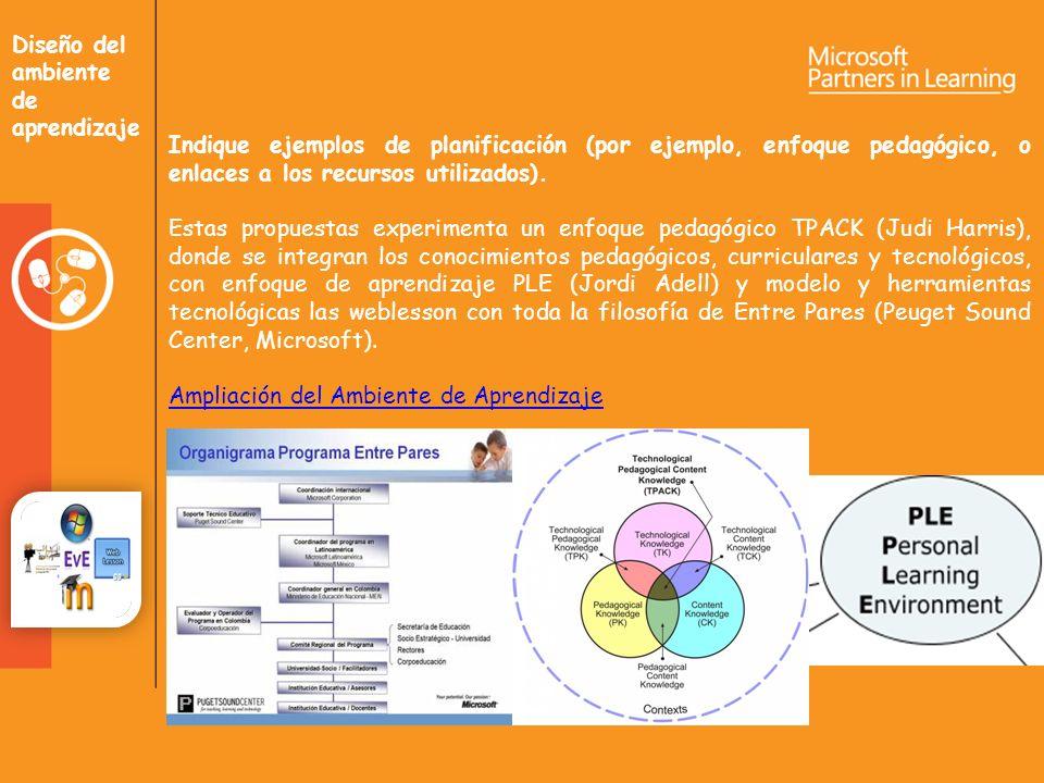 Diseño del ambiente de aprendizaje Indique ejemplos de planificación (por ejemplo, enfoque pedagógico, o enlaces a los recursos utilizados).