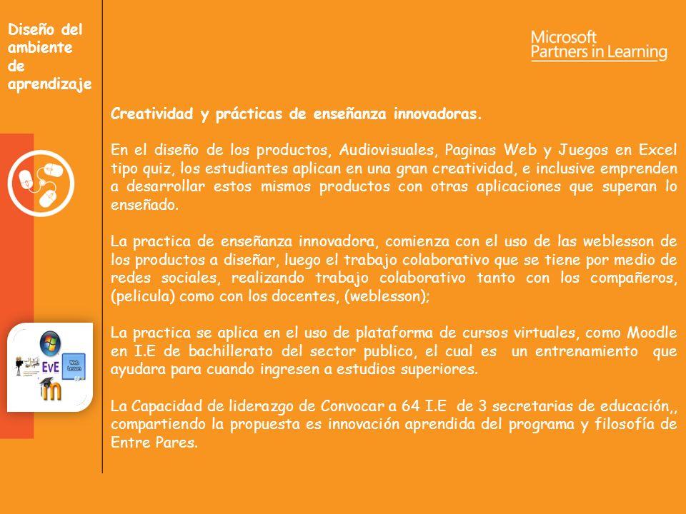 Diseño del ambiente de aprendizaje Creatividad y prácticas de enseñanza innovadoras.