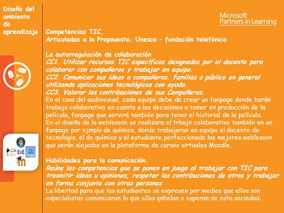 Diseño del ambiente de aprendizajeCompetencias TIC, Articuladas a la Propouesta; Unesco – fundación telefónica La autorregulación de colaboración CC1.