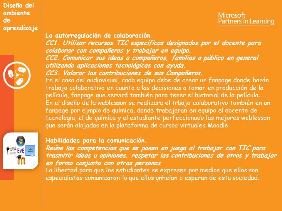 Diseño del ambiente de aprendizaje La autorregulación de colaboración CC1.