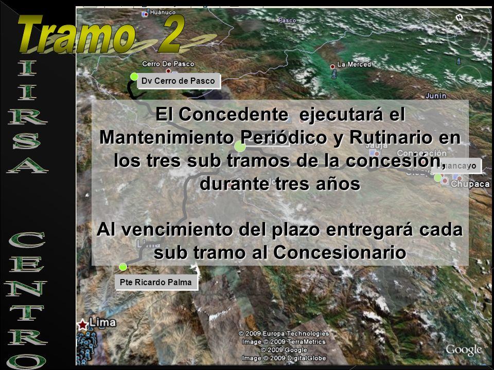 Pte Ricardo Palma Dv Cerro de Pasco La Oroya Huancayo El Concedente ejecutará el Mantenimiento Periódico y Rutinario en los tres sub tramos de la conc