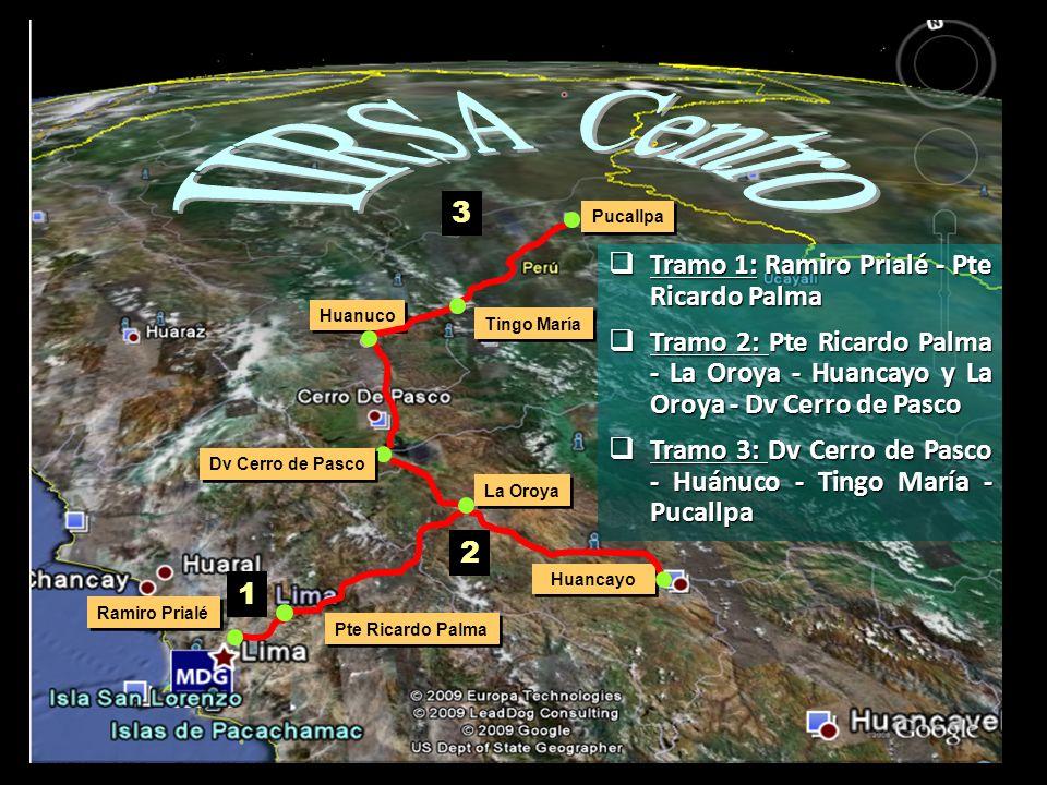 Huanuco Pucallpa Tingo María 3 Huancayo 2 Dv Cerro de Pasco La Oroya Pte Ricardo Palma Ramiro Prialé 1 Tramo 1:Ramiro Prialé - Pte Ricardo Palma Tramo