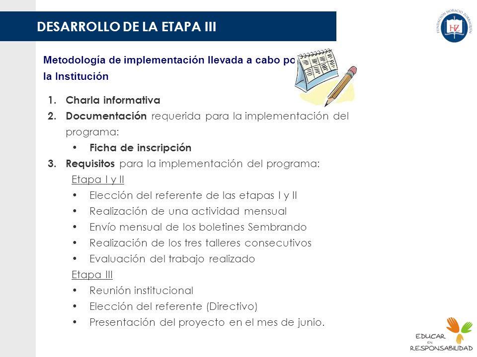 DESARROLLO DE LA ETAPA III Metodología de implementación llevada a cabo por la Institución 1.Charla informativa 2.Documentación requerida para la impl