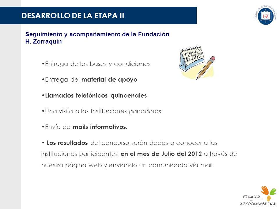 DESARROLLO DE LA ETAPA II Seguimiento y acompañamiento de la Fundación H. Zorraquín Entrega de las bases y condiciones Entrega del material de apoyo L