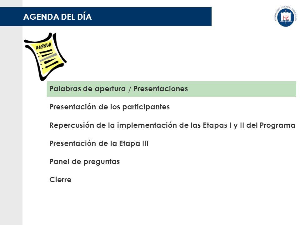 AGENDA DEL DÍA Palabras de apertura / Presentaciones Presentación de los participantes Panel de preguntas Cierre Presentación de la Etapa III Repercusión de la implementación de las Etapas I y II del Programa