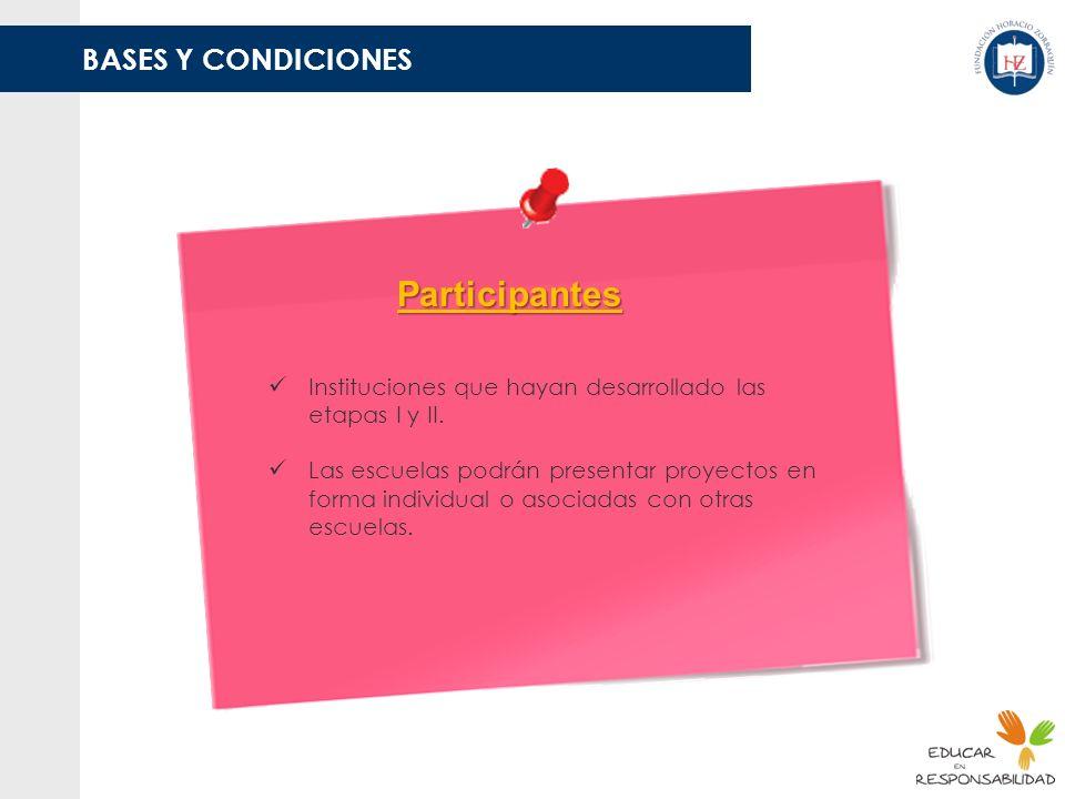 BASES Y CONDICIONES Participantes Instituciones que hayan desarrollado las etapas I y II. Las escuelas podrán presentar proyectos en forma individual