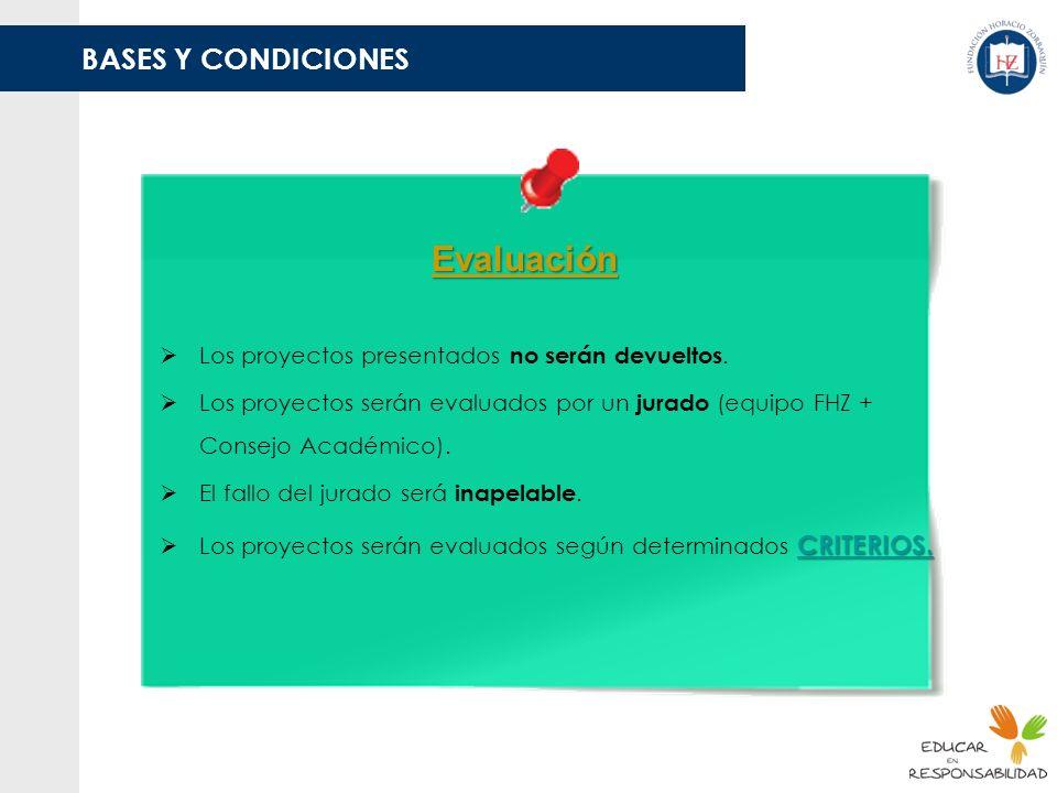 BASES Y CONDICIONES Evaluación Los proyectos presentados no serán devueltos. Los proyectos serán evaluados por un jurado (equipo FHZ + Consejo Académi