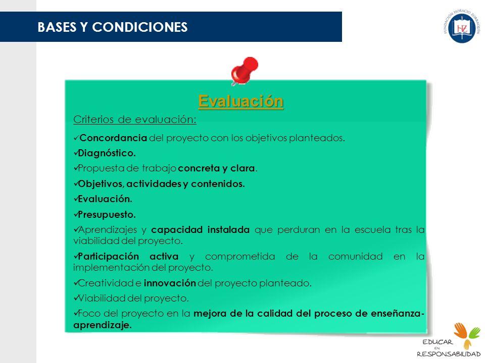 BASES Y CONDICIONES Evaluación Criterios de evaluación: Concordancia del proyecto con los objetivos planteados. Diagnóstico. Propuesta de trabajo conc