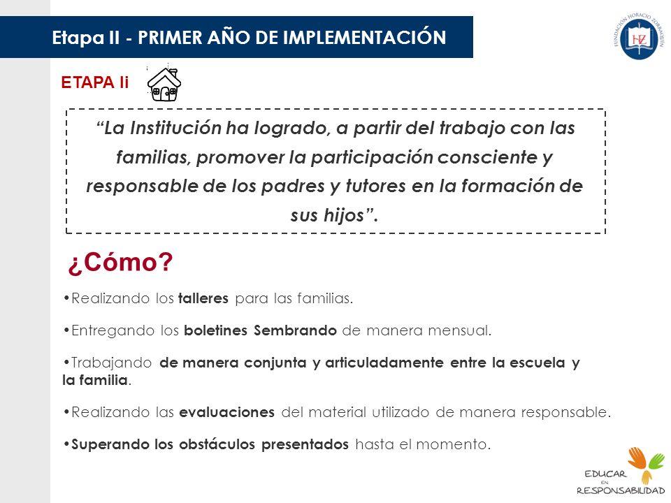 Etapa II - PRIMER AÑO DE IMPLEMENTACIÓN ETAPA Ii La Institución ha logrado, a partir del trabajo con las familias, promover la participación conscient