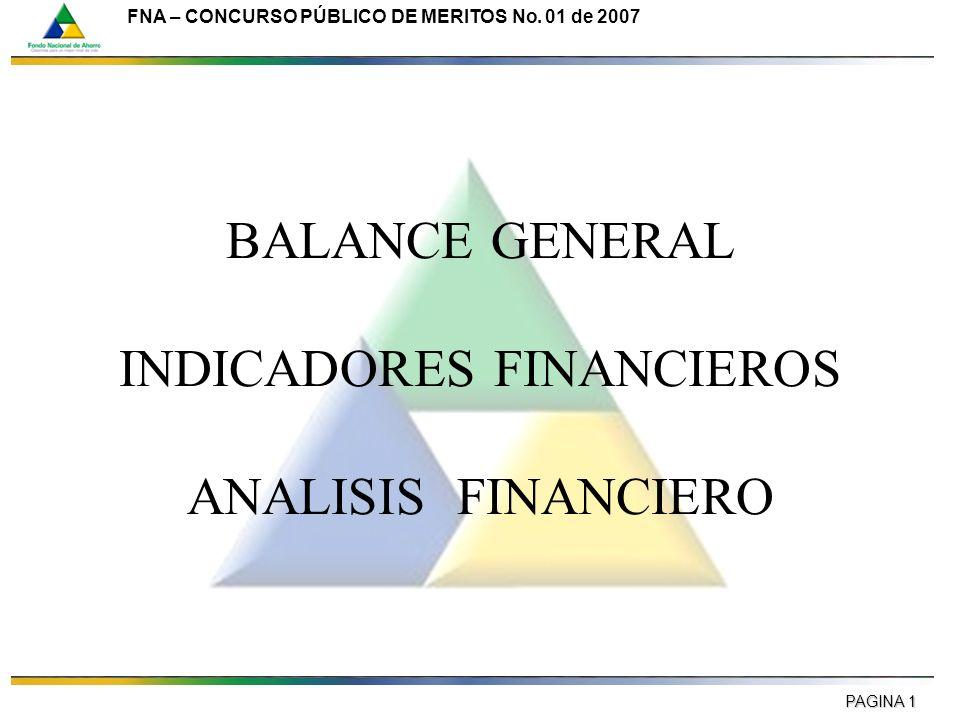 PAGINA 1 FNA – CONCURSO PÚBLICO DE MERITOS No. 01 de 2007 BALANCE GENERAL INDICADORES FINANCIEROS ANALISIS FINANCIERO