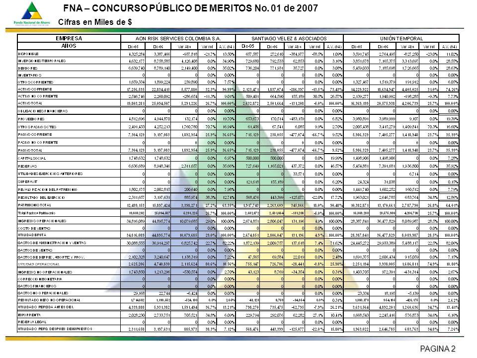 PAGINA 2 FNA – CONCURSO PÚBLICO DE MERITOS No. 01 de 2007 Cifras en Miles de $
