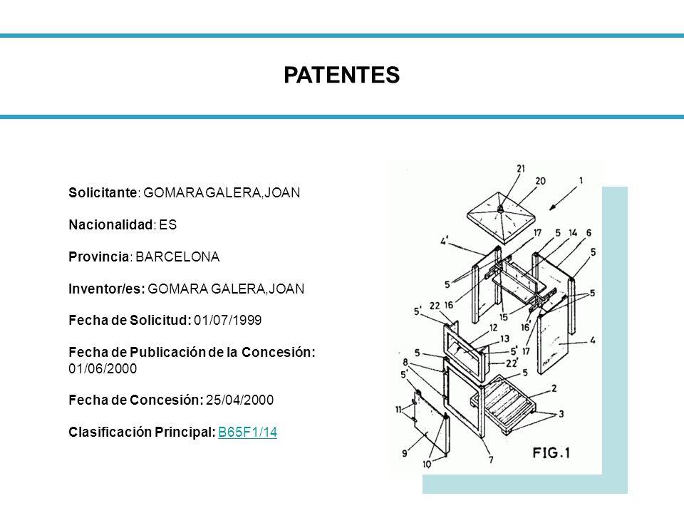 PATENTES Solicitante: GOMARA GALERA,JOAN Nacionalidad: ES Provincia: BARCELONA Inventor/es: GOMARA GALERA,JOAN Fecha de Solicitud: 01/07/1999 Fecha de