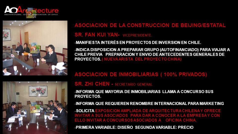 ASOCIACION DE LA CONSTRUCCION DE BEIJING/ESTATAL SR. FAN KUI YAN- VICEPRESIDENTE. -MANIFIESTA INTERÉS EN PROYECTOS DE INVERSION EN CHILE. -INDICA DISP