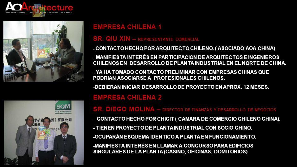 EMPRESA CHILENA 1 SR. QIU XIN – REPRESENTANTE COMERCIAL - CONTACTO HECHO POR ARQUITECTO CHILENO. ( ASOCIADO AOA CHINA) - MANIFIESTA INTERÉS EN PARTICI