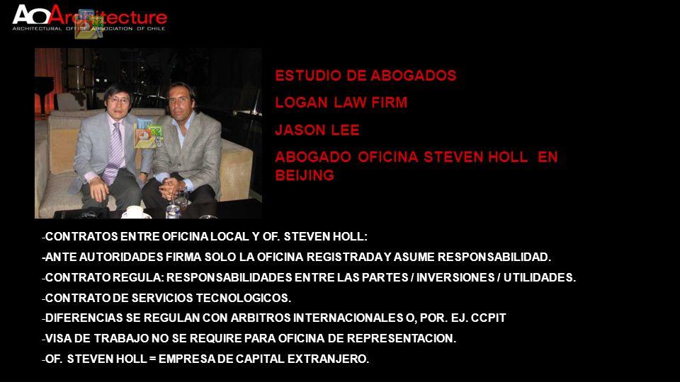 ESTUDIO DE ABOGADOS LOGAN LAW FIRM JASON LEE ABOGADO OFICINA STEVEN HOLL EN BEIJING -CONTRATOS ENTRE OFICINA LOCAL Y OF. STEVEN HOLL: -ANTE AUTORIDADE