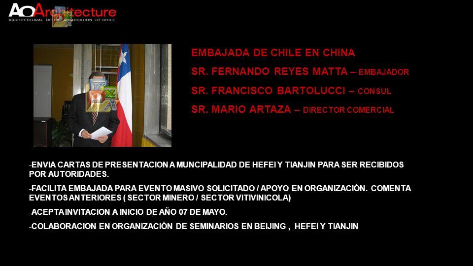 EMBAJADA DE CHILE EN CHINA SR. FERNANDO REYES MATTA – EMBAJADOR SR. FRANCISCO BARTOLUCCI – CONSUL SR. MARIO ARTAZA – DIRECTOR COMERCIAL -ENVIA CARTAS
