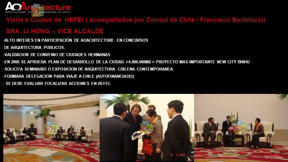 Visita a Ciudad de HEFEI ( acompañados por Consul de Chile / Francisco Bartolucci) SRA. LI HONG – VICE ALCALDE -ALTO INTERES EN PARTICIPACIÓN DE AOACH