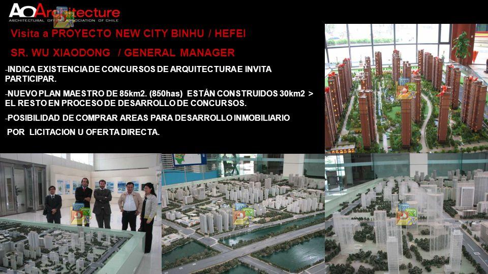 Visita a PROYECTO NEW CITY BINHU / HEFEI SR. WU XIAODONG / GENERAL MANAGER -INDICA EXISTENCIA DE CONCURSOS DE ARQUITECTURA E INVITA PARTICIPAR. -NUEVO