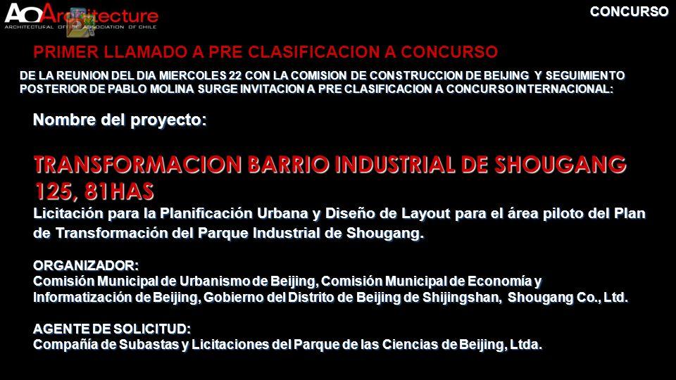 CONCURSO DE LA REUNION DEL DIA MIERCOLES 22 CON LA COMISION DE CONSTRUCCION DE BEIJING Y SEGUIMIENTO POSTERIOR DE PABLO MOLINA SURGE INVITACION A PRE