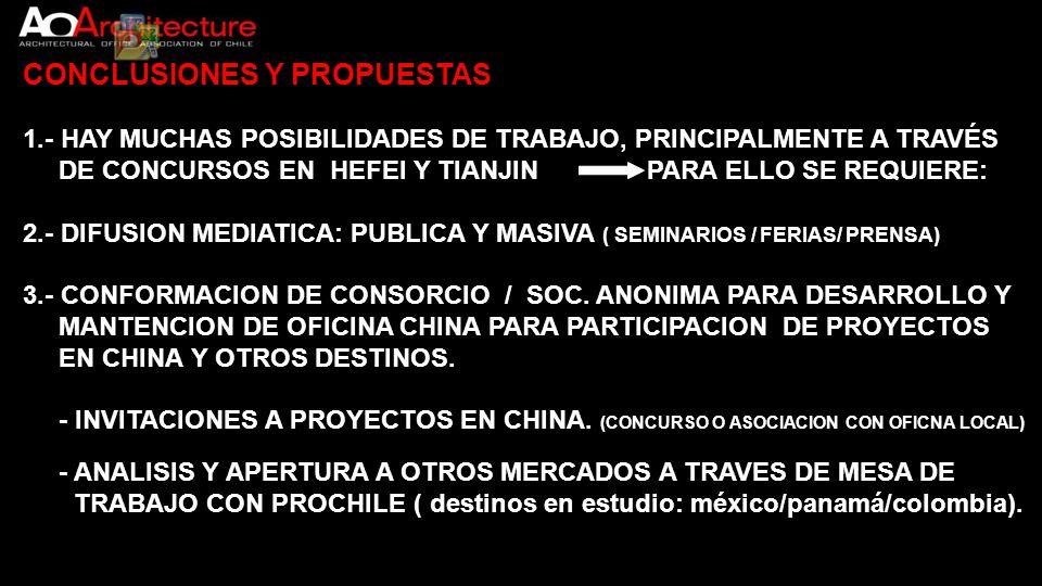CONCLUSIONES Y PROPUESTAS 1.- HAY MUCHAS POSIBILIDADES DE TRABAJO, PRINCIPALMENTE A TRAVÉS DE CONCURSOS EN HEFEI Y TIANJIN PARA ELLO SE REQUIERE: 2.-