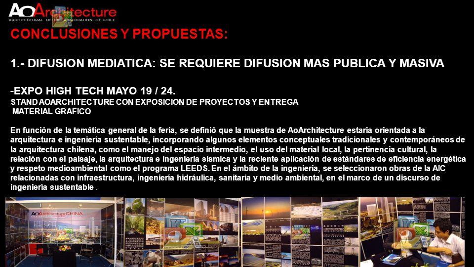 CONCLUSIONES Y PROPUESTAS: 1.- DIFUSION MEDIATICA: SE REQUIERE DIFUSION MAS PUBLICA Y MASIVA -EXPO HIGH TECH MAYO 19 / 24. STAND AOARCHITECTURE CON EX