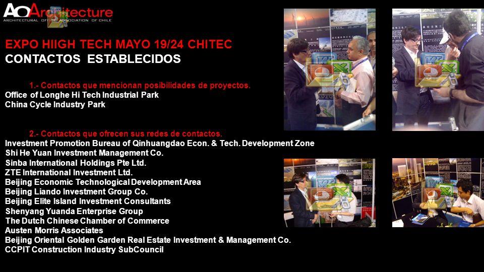EXPO HIIGH TECH MAYO 19/24 CHITEC CONTACTOS ESTABLECIDOS 1.- Contactos que mencionan posibilidades de proyectos. Office of Longhe Hi Tech Industrial P