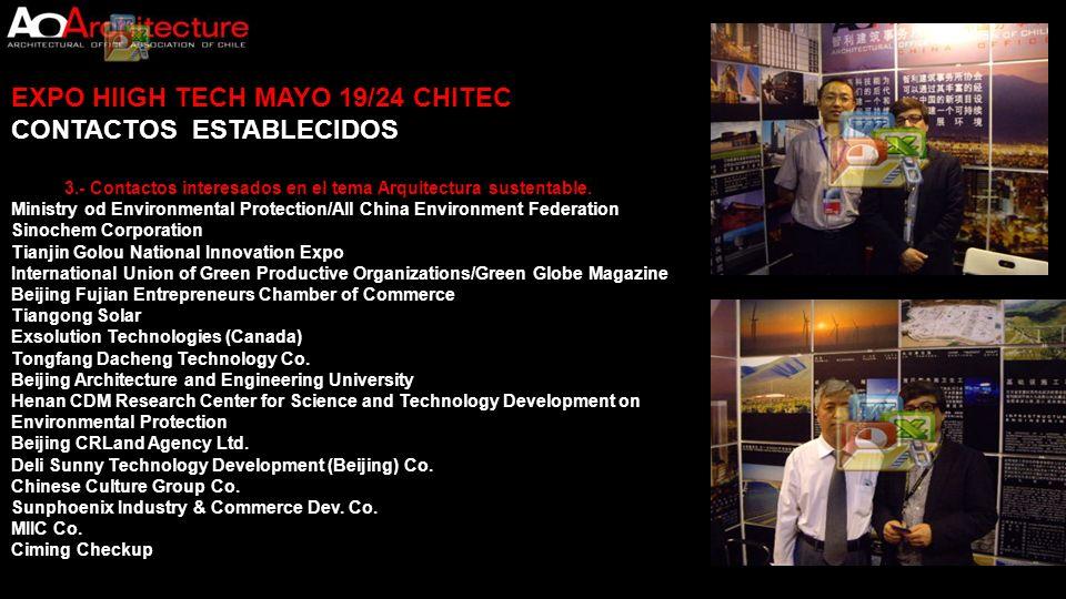 EXPO HIIGH TECH MAYO 19/24 CHITEC CONTACTOS ESTABLECIDOS 3.- Contactos interesados en el tema Arquitectura sustentable. Ministry od Environmental Prot
