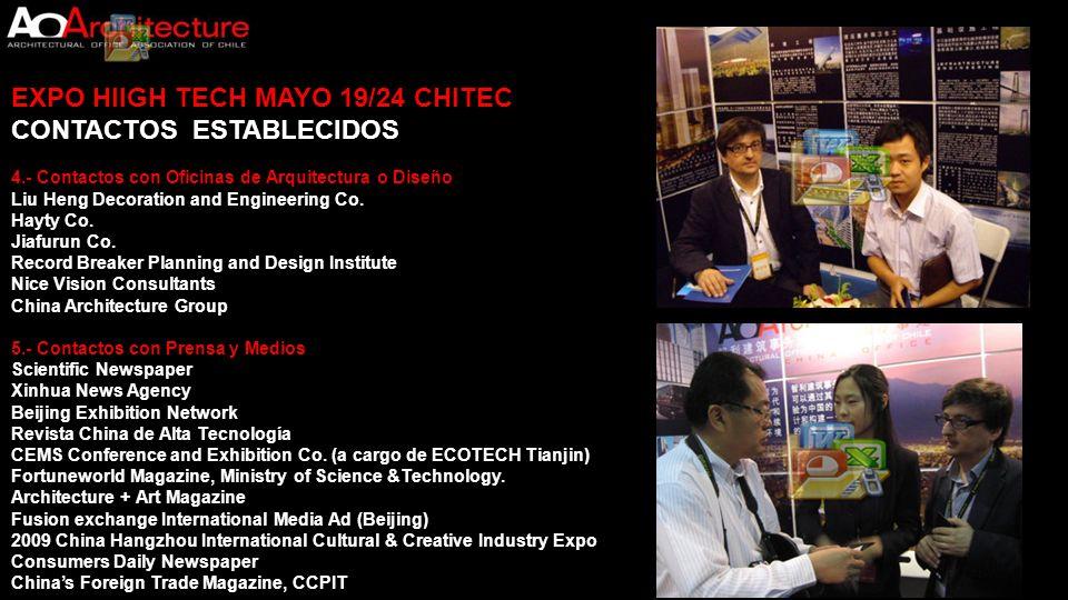 EXPO HIIGH TECH MAYO 19/24 CHITEC CONTACTOS ESTABLECIDOS 4.- Contactos con Oficinas de Arquitectura o Diseño Liu Heng Decoration and Engineering Co. H