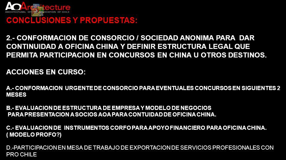 CONCLUSIONES Y PROPUESTAS: 2.- CONFORMACION DE CONSORCIO / SOCIEDAD ANONIMA PARA DAR CONTINUIDAD A OFICINA CHINA Y DEFINIR ESTRUCTURA LEGAL QUE PERMIT