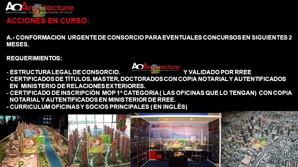 ACCIONES EN CURSO: A.- CONFORMACION URGENTE DE CONSORCIO PARA EVENTUALES CONCURSOS EN SIGUIENTES 2 MESES. REQUERIMIENTOS: - ESTRUCTURA LEGAL DE CONSOR