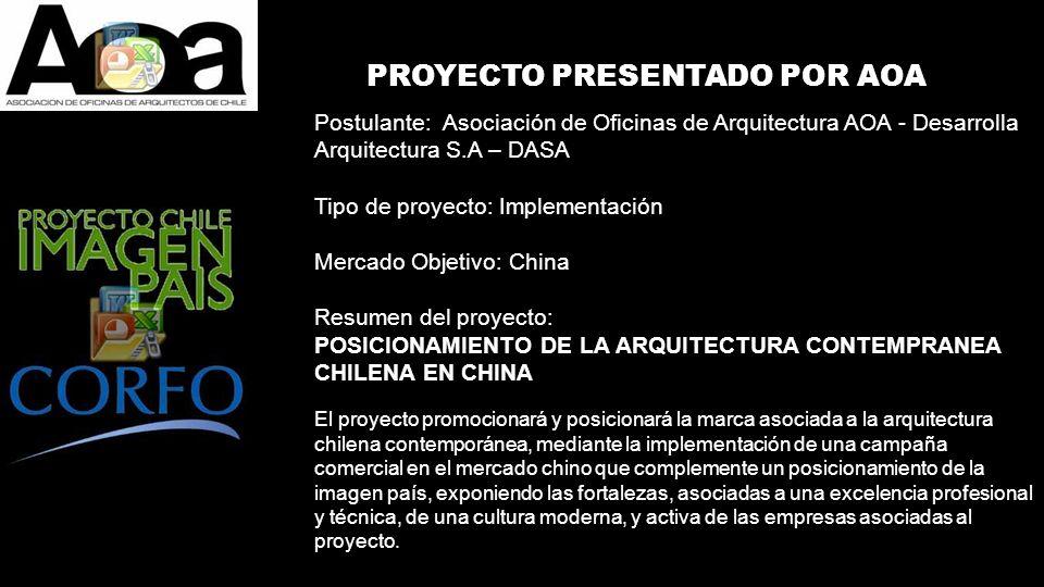 PROYECTO PRESENTADO POR AOA Postulante: Asociación de Oficinas de Arquitectura AOA - Desarrolla Arquitectura S.A – DASA Tipo de proyecto: Implementaci
